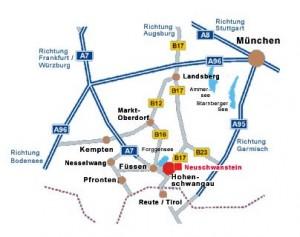 Carreteras alrededor del Castillo de Neuschwanstein