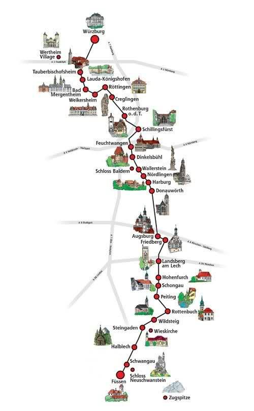 Mapa de la ruta Romántica de Baviera