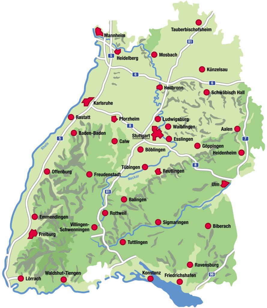 Mapa de pueblos y ciudades de Selva Negra