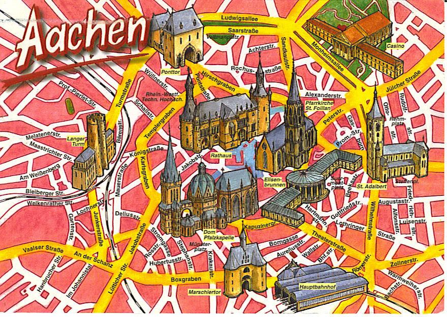 Mapa turístico con los monumentos de Aachen