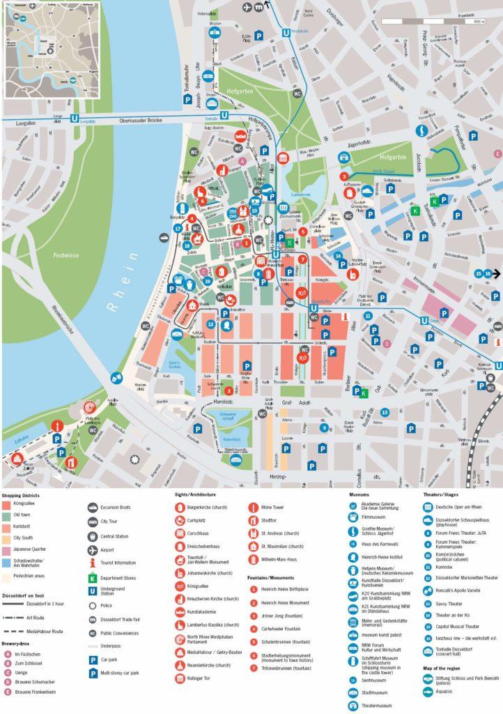Mapa de los monumentos y puntos de interés de Düsseldorf